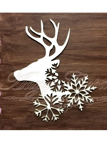 Чипборд новогодний Олень и снежинки