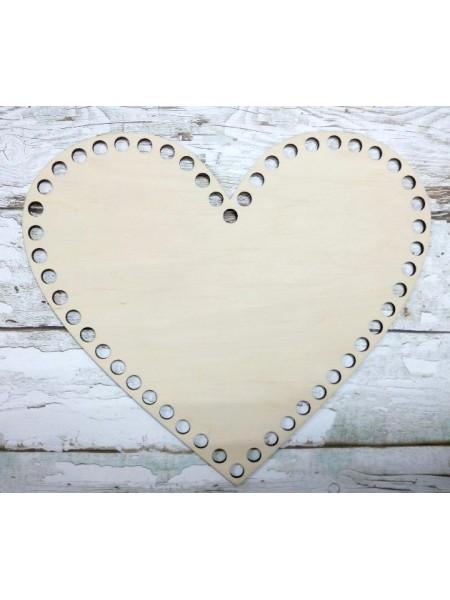 Деревянное донышко для корзин-Сердце,25см
