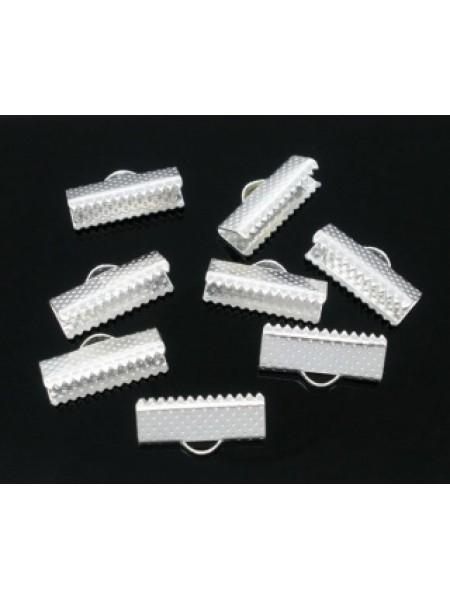 Зажим для ленты( браслета), цв-серебро,16 мм, цена за 1 шт