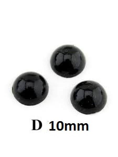 Глаза круглые ,клеевые,цв-черный,10 мм, цена за пару
