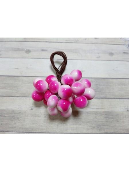 Ягодки глянцевые,бело-розовые, цена за 20шт