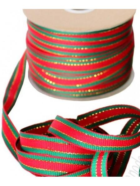 Лента декоративная ,красно-зелёная. 1,2 см*цена за 1 м