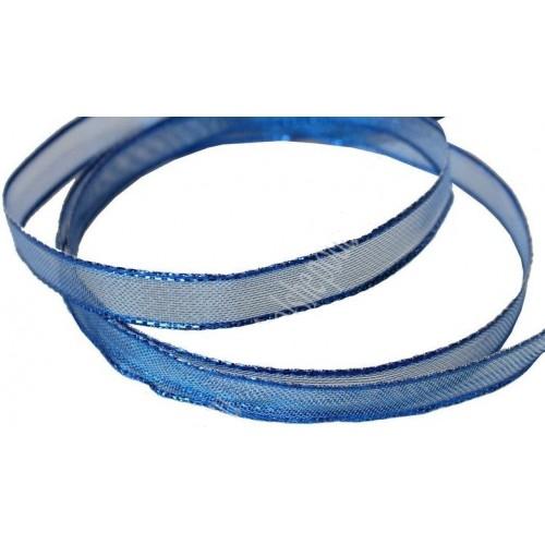 Лента декоративная ,синяя. 1,5 см*(с проволокой по краям)цена за 1 м