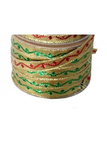 Лента декоративная ,металлик,золото с зелёным. 1,2 см*цена за 1 м
