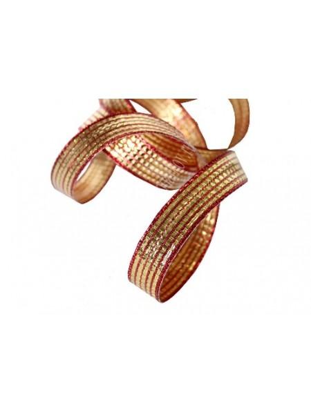 Лента декоративная ,красно-золотая. 1,5 см*(с проволокой по краям)цена за 1 м