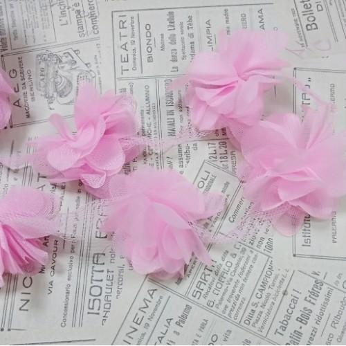Шифоновые цветы на ленте.цв-розово-сиреневый,цена за 1 м