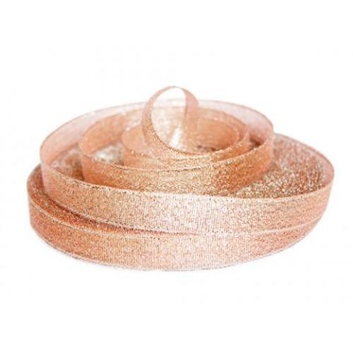 Металлизированная тесьма, персиковый металлик,6мм