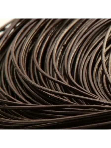 Шнур кожаный,1,5мм, цв-тёмно-коричневый.цена за 1метр