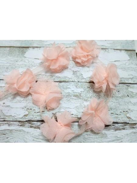 Шифоновые цветы на ленте ярко-персиковые,цена за 1 м