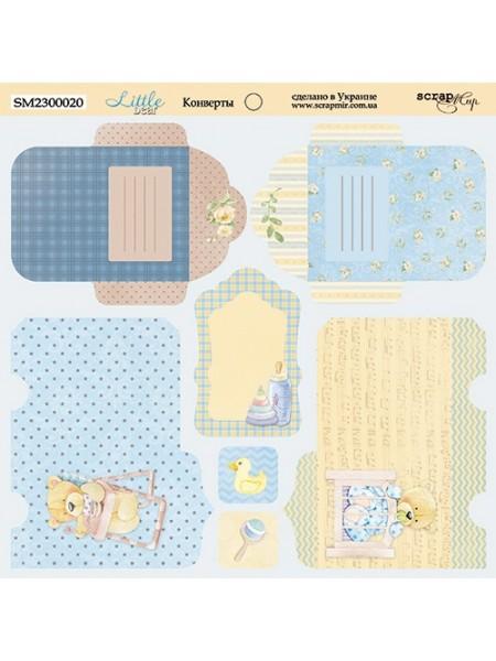 """Лист двусторонней бумаги 20x20 см""""Конверты"""" Little Bear от Scrapmir"""