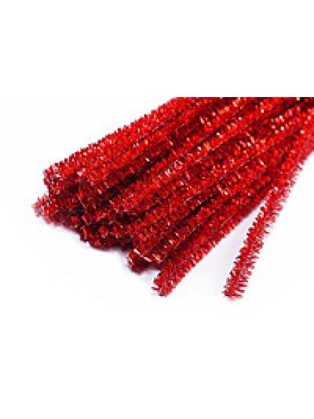 Синельная проволока(шенил),красный металлик,цена за 10 шт