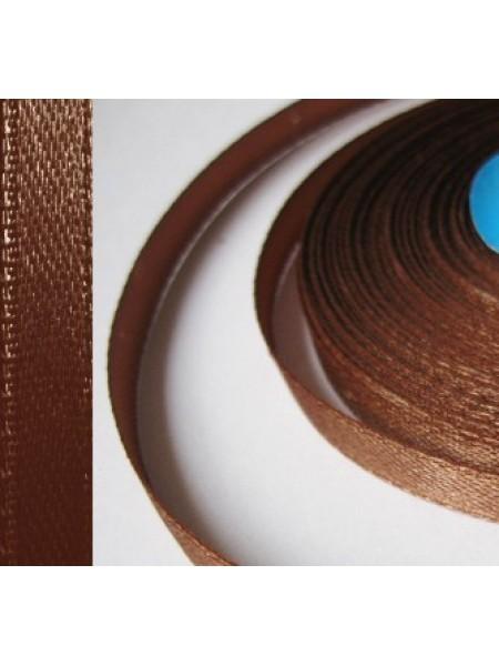 Лента атласная,6мм, в уп.5,4м,№100,тёмно-коричневая.Цена за уп