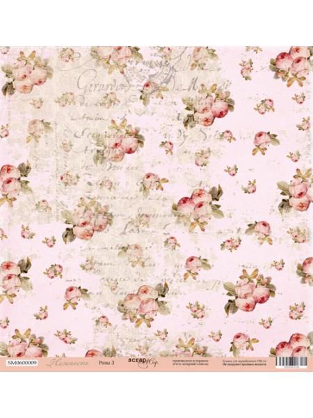 Лист односторонней бумаги 30x30 от Scrapmir Розы-3 из коллекции Нежность