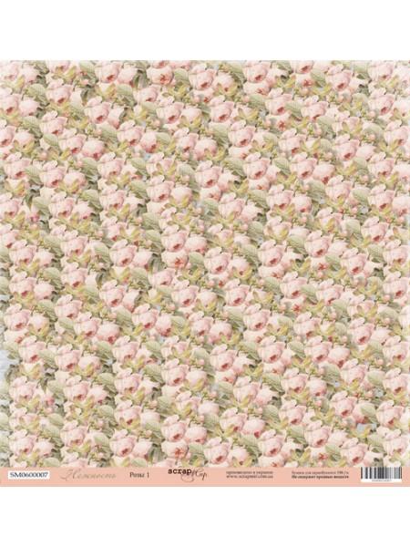 Лист односторонней бумаги 30x30 от Scrapmir Розы-1  из коллекции Нежность
