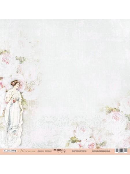 Лист односторонней бумаги 30x30 от Scrapmir Дама с розами из коллекции Нежность