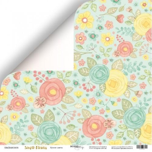 Лист двусторонней бумаги 30x30 от Scrapmir Яркие цветы из коллекции Simple Flowers