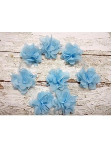 Шифоновые цветы на ленте голубые,цена за 1 м