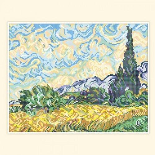 Вышивка пшеничное поле с кипарисами 4